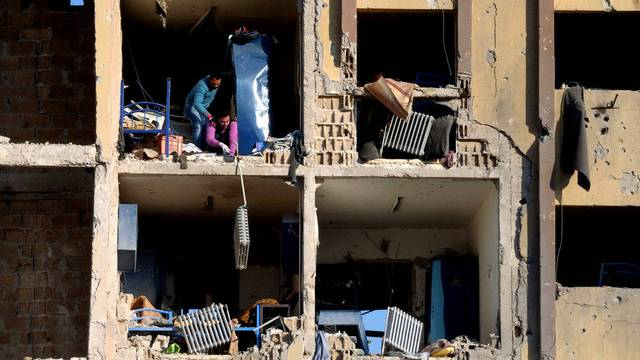 Das am Dienstag durch eine Explosion zerstörte Uni-Gebäude in Aleppo