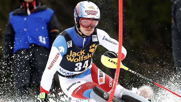 Loïc Meillard fährt an der Junioren-Weltmeisterschaften in Are in der Kombination zu Gold