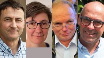 Die Kandidaten fürs Gemeindepräsidium in Bellach: Beat Späti, Linda Walter-Naef, Fritz Lehmann und Stefan Keller