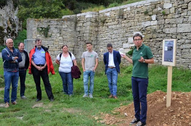 Die Sanierung der 400-jährigen Bruchsteinmauern beim Schloss Kasteln in Oberflachs ist demnächst abgeschlossen;Christine Neff, Geschäftsleiterin Jurapark Aargau, spricht vom Kulturerbe für künftige Generationen.