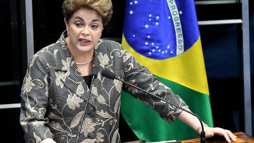 Dilma Rousseff am Montag bei ihrer Rede vor dem Senat.