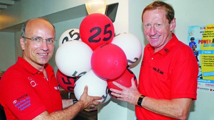 John Raadschelders (rechts), der Präsident der International Powerman Association (IPA) und sein Vize Stefan Ruf (Präsident Powerman Zofingen) bauen die Powerman-Serie kontinuierlich aus und wollen bis 2016 weltweit über 20 Rennen anbieten können.
