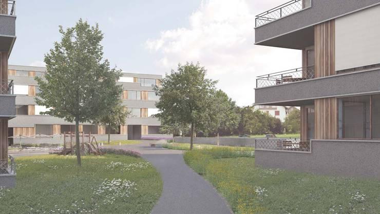So sieht das Siegerprojekt der geplanten Überbauung in Baden-Rütihof aus. ZVG