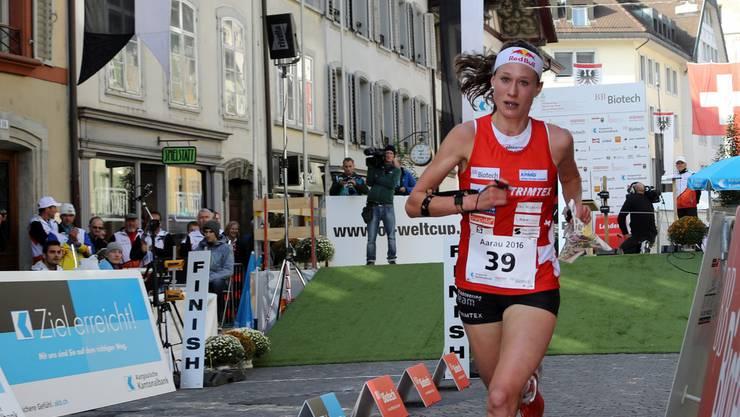 Judith Wyder beim Zieleinlauf in Aarau.