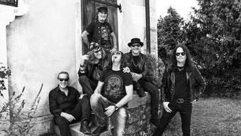 Hardrock-Urgesteine von Krokus (von links): Fernando von Arb, Chris von Rohr, Marc Storace (oben), Flavio Mezzodi, Mark Kohler, Mandy Meyer.