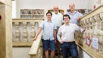 Sie wirken an der Jubiläumsschrift mit (v.l.): Oliver Ittensohn, Martin Illi, Jan Müller und Ruedi Graf. Auf dem Bild fehlt: Oliver Schneider.