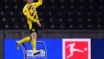 Der Mann des Samstags: Dortmunds Erling Haaland mit seinen vier Toren gegen Hertha Berlin