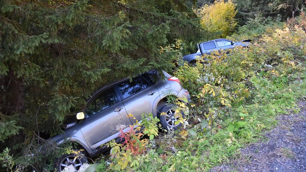 Autos landen nach Unfall im Tobel