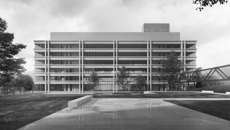 So soll das neue Gebäude der Kantonspolizei Aargau in Aarau aussehen. (Visualisierung)