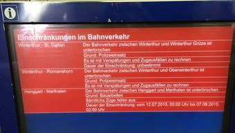 Der Bahnverkehr um Winterthur war bis kurz vor 13.00 Uhr unterbrochen.