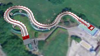75 Meter reinstes Rutschvergnügen: Visualisierung der geplanten Doppelrutsche im Regibad Zurzach.