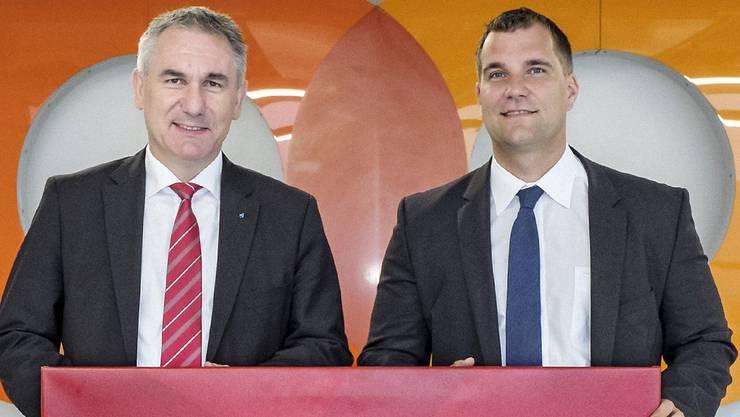 Alex Hürzeler (OK Präsident ETF 2019 und Regierungsrat) mit Roger Vogt (Leiter Coop Verkaufsregion Nordwestschweiz-Zentralschweiz-Zürich).
