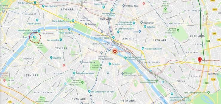 Links der Eiffelturm, in der Mitte die Notre-Dame und bei der Markierung Anthonys Standort. (Screenshot: google maps)