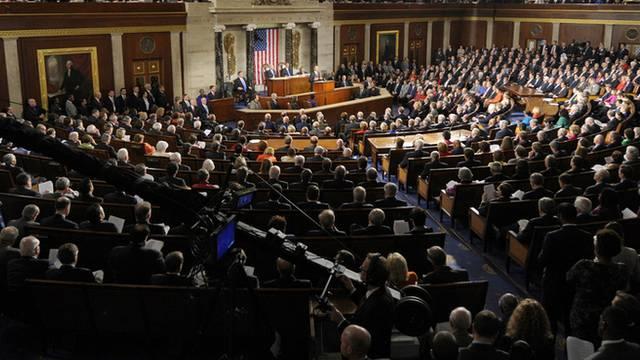 Barack Obama bei seiner Rede zur Lage der Nation vor dem versammelten US-Kongress im Januar 2012