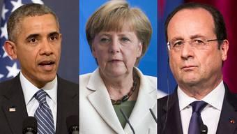 Drohen mit neuen Sanktionen: US-Präsident Barack Obama, die deutsche Bundeskanzlerin Angela Merkel und Frankreichs Präsident Francois Hollande.