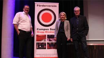 An der Generalversammlung des Fördervereins Campussaal unter der Leitung von Präsident Johann Ritzinger (rechts) wurden Urs Widmer (Habsburg) und Brigitte Schnyder (Hausen) aus dem Vorstand verabschiedet.