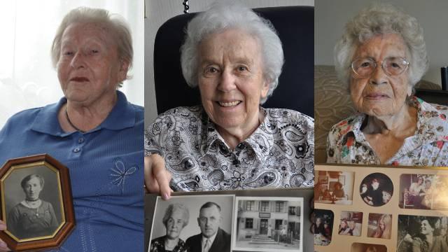 Agnes Hangartner, Ruth Tschudin und Agnes Brack, Bewohnerinnen des Alters- und Gesundheitszentrums Ruggacker, zeigen der «Schweiz am Sonntag» Fotos ihrer Mütter.