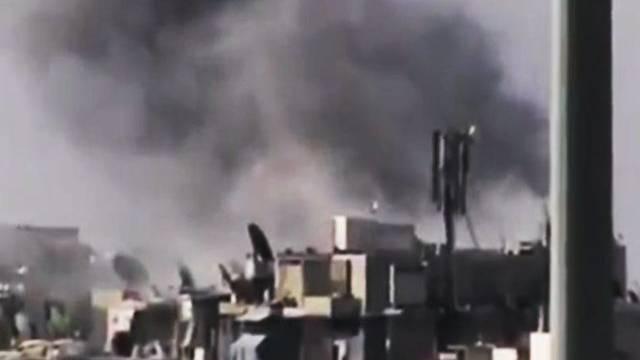 Spuren der Kämpfe: Rauch über der Stadt Aleppo