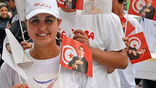 Anhängerin Ben Alis in Tunis