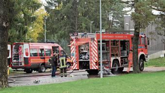 Die Feuerwehr bei einer Einsatzübung.