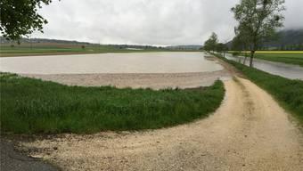 «Land unter»: So präsentierte sich die Situation Mitte Mai zwischen Oberramsern und Messen. Der Limpachkanal war über die Ufer getreten.