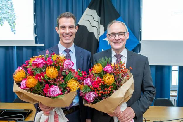 Frisch gewählt: Thierry Burkart und Hansjörg Knecht