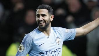 Manchester Citys algerischer Stürmer Riyad Mahrez freut sich über sein Tor zum 2:0