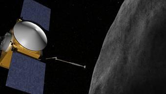 HANDOUT - Undatierte grafische Darstellung der Nasa-Sonde Osiris-Rex, die sich dem Asteroiden Bennu mit ihrem Touch-And-Go Sample Arm Mechanism (TAGSAM) nähert. Foto: Nasa/dpa - ACHTUNG: Nur zur redaktionellen Verwendung und nur mit vollständiger Nennung des vorstehenden Credits
