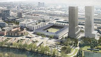So soll das Hardturm-Areal in Zürich-West dereinst aussehen: ein Fussballstadion für 18'000 Zuschauer, 174 Genossenschaftswohnungen und zwei Wohn- und Bürotürme mit 600 Wohnungen.