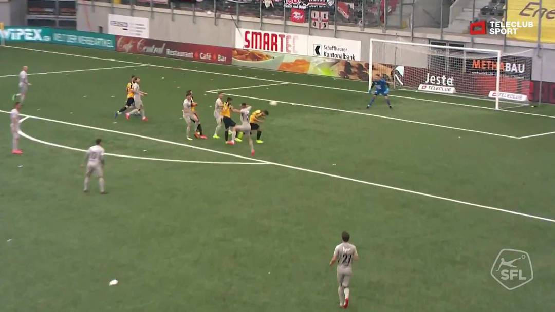 Challenge League 18/19 Runde 33: FC Schaffhausen - FC Aarau 11.5.19 - Pfostenschuss durch Miguel Castroman (FC Schaffhausen)