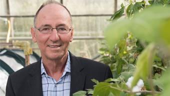 FiBL-Direktor Urs Niggli mit einer Bio-Baumwollpflanze.