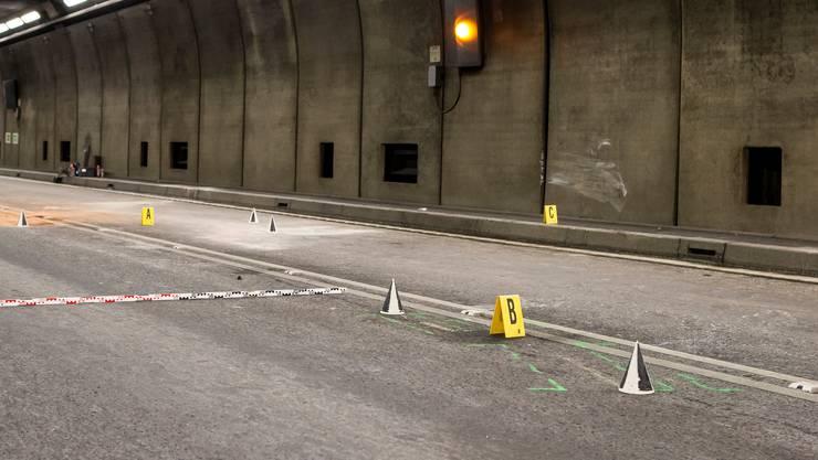 Am Nordportal des Fieud-Tunnels verunfallten am Donnerstag sechs Personen.