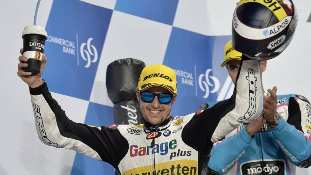 Wie zum Saisonauftakt in Katar durfte Tom Lüthi auch in Silverstone über seinen Sieg jubeln