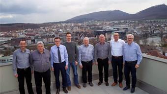 Das OK «Donnschtig-Jass» in Olten (v.l.): Stefan Ulrich (Olten Tourismus), Kurt Hofmann (Restauration), Rolf Kristandl (Kassier), Andreas Hagmann (Medien), Harry Kuhn (Initiator und Vize-Präsident), Martin Wey (OK-Präsident), René Wernli (Logistik) und Franco Giori (Koordination). Es fehlt Ruedi Trachsel. zvg
