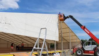 Der Aufbau fürs Turnfest Remigen läuft auf Hochtouren.