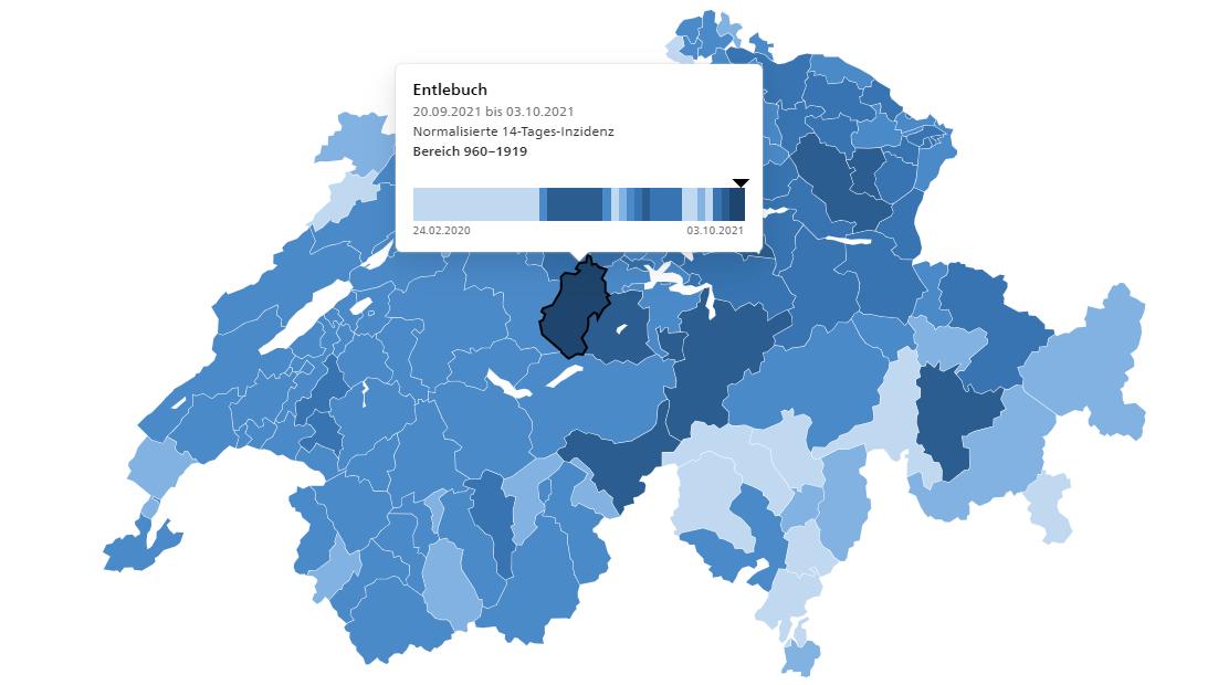 Das Entlebuch hat aktuell die höchste 14-Tage-Inzidenz in der Schweiz. (Stand: 3.10.2021)