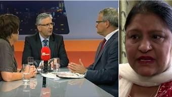 Marie-Louise Nussbaumer, Andreas Glarner und Moderator Werner De Schepper diskutieren im Talk Täglich über Aisha Mohammad (rechts), deren Einbürgerungsgesuch von den Erlinsbacher Stimmbürgern zum vierten Mal abgelehnt wurde.