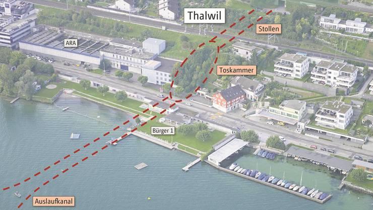 Bei der Badi soll das Wasser durch den Entlastungsstollen in den Zürichsee fliessen. Über dem in den See ragenden Stollen will die Gemeinde einen rund 100 Meter langen Steg bauen.