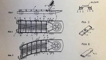 Die Konstruktionszeichnung von Erfinder Lorenz Hofele für die Patentschrift.