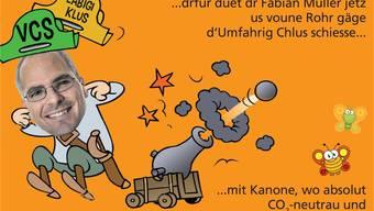 Macarena aus Balsthal macht sich über die Position von alt Gemeinderat Fabian Müller lustig. zvg