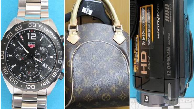 Uhren, Taschen, Filmausrüstung: Die Polizei fand in Aarburg jede Menge Diebesgut.