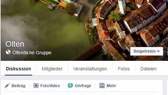 Die Olten-Gruppe auf Facebook.