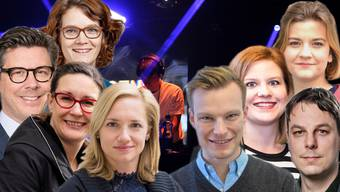 Die acht Grossräte von «Kulturstadt Jetzt»: Christian Moesch (FDP), Kerstin Wenk (SP), Lisa Mathys (SP), Esther Keller (GLP), Sebastian Kölliker (SP), Salome Hofer (SP), Jo Vergeat (Grüne) und Claudio Miozzari (SP), von links.