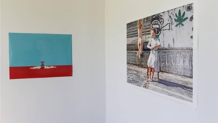 Die Werke von Nadine Andrey und Stefanie Daumüller (l.) sowie Delia und Elisa Ferraro.
