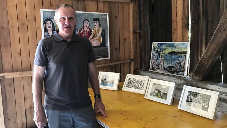 """Kunstmeile Aesch 2018 - Peter Seiler: """"Ich verkaufe meine Bilder zu einem günstigen Preis."""""""