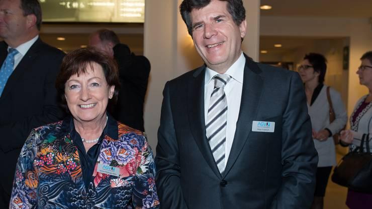SVP-Nationalrätin und Gewerbeverbandsvizepräsidentin Sylvia Flückiger und der künftige Gewerbeverbandsgeschäftsführer Peter Fröhlich