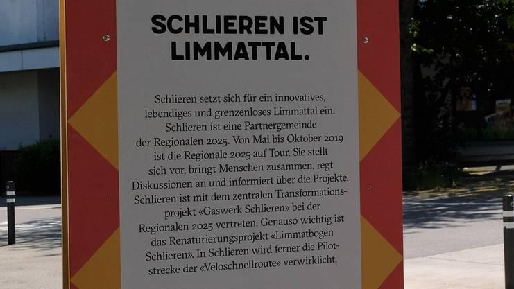 Schlieren ist Limmattal: die andere Seite der neuen Regionale-2025-Stele.