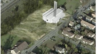 Das ursprünglich geplante Holzkraftwerk am Fuss des Bruderholzes.