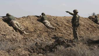 US-amerikanische und irakische Soldaten beim Schiesstraining. Die meisten US-Soldaten sind als Berater im Irak. (Archiv)