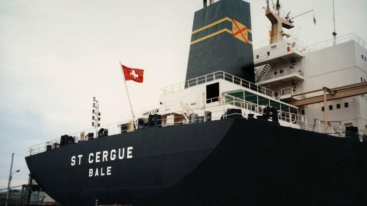 Das schweizerische Frachtschiff St. Cergue Bale 1985.